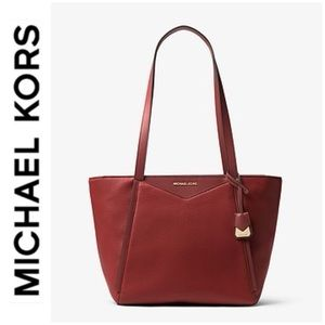 NWT authentic MK genuine leather tote brandy